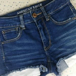 American Eagle Outfitters Shorts - AEO Shorts Hi Rise Shortie High Waisted Dark Wash